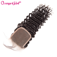 Deep Wave Brazilian Hair Lace Closure With Baby Hair 10 22 Free/Middle/Three Part Remy Human Hair Bundles Closure Oxeye girl