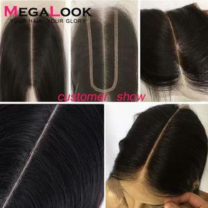 Megalook 2X6 Closure Kim k Closure Human Hair Closure 2*6 lace Straight Remy Brazilian Natural Color Middle Part