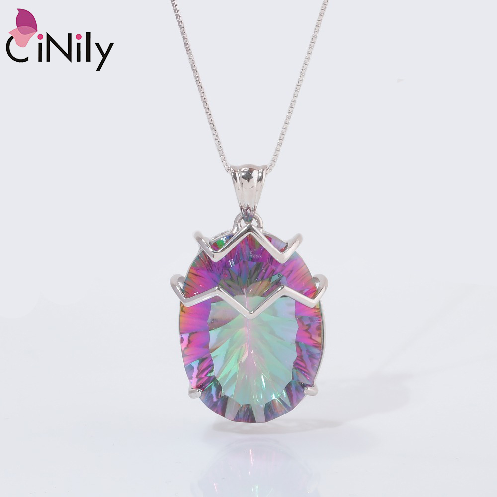 CiNily Rainbow Created Mystic Topas Pendants Solid 925 Sterling Silver Luxury Large Egg Stone Fine Jewelry Gifts For Woman