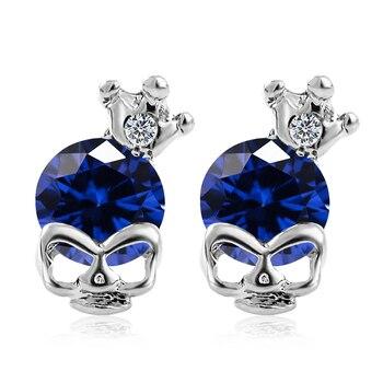 MISANANRYNE Skull Stud Earrings for Women Cute 7 Colors Cubic Zirconia Skull Stud Earrings Party Jewelry Gift Wholesale