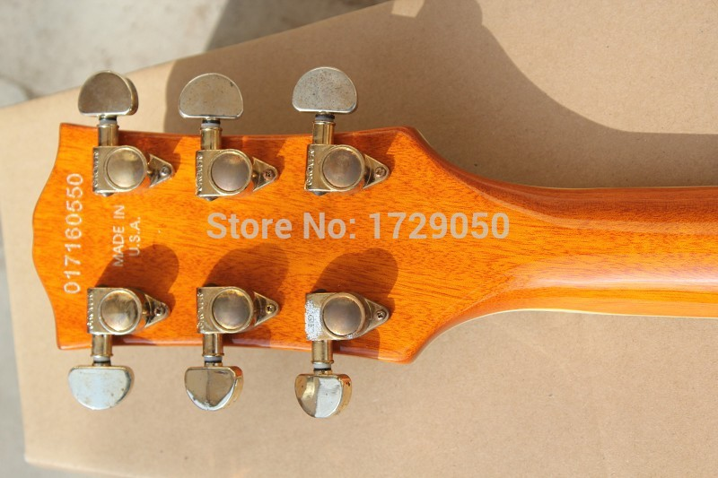 Chinese musical Instruments Factory custom 2017 new with F hole Semi Hollow body yellow Tigrina Burst jazz electric guitar 218