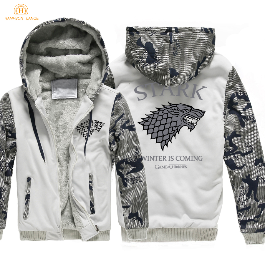 Winter Is Coming Game of Thrones House Stark Fashion Zipper Hoodies Men 2019 Warm Hip Hop Sweatshirts Thicken Jackets