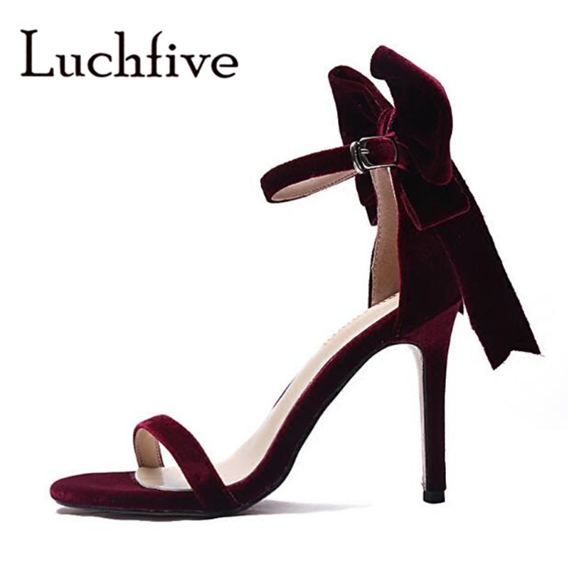 купить 2018 new Bow tie women sandals sexy summer open toe ladies shoes fashion party high Heels Stiletto black wine red blue sandalias по цене 3807.86 рублей