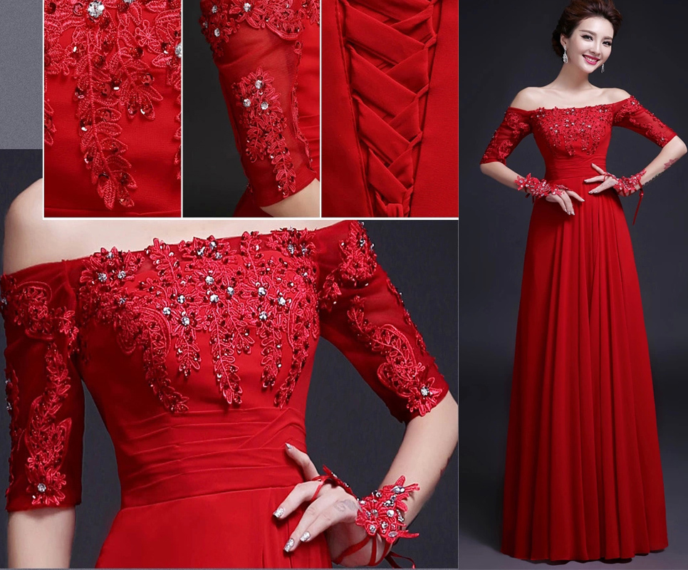 Free Shipping Red Long Evening Gown Dresses Off the Shoulder Lace up ...