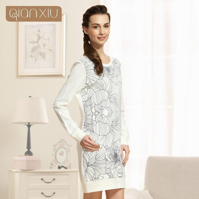 b07237c86cecd Qianxiu chemise de nuit pour femmes à manches longues genou-longueur coton  chemises de sommeil