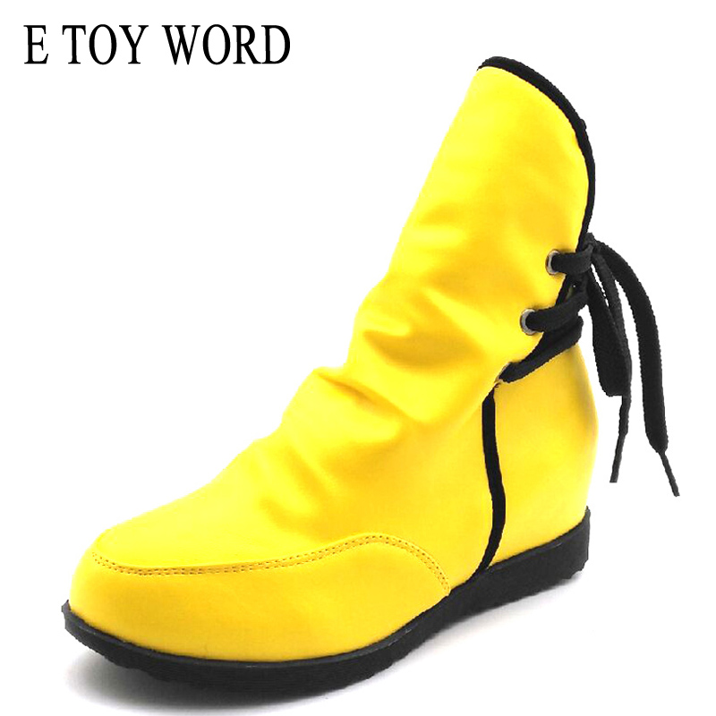 E TOY WORD Women Boots Spring Autumn Warm 2017 Sexy Fashion Pu leather Lace-Up Ankle Boots Non-slip Martin boots women Size35-43 e toy word boots women fashion autumn martin boots warm women shoes ankle boots for women winter botas mujer wedges ankle boots