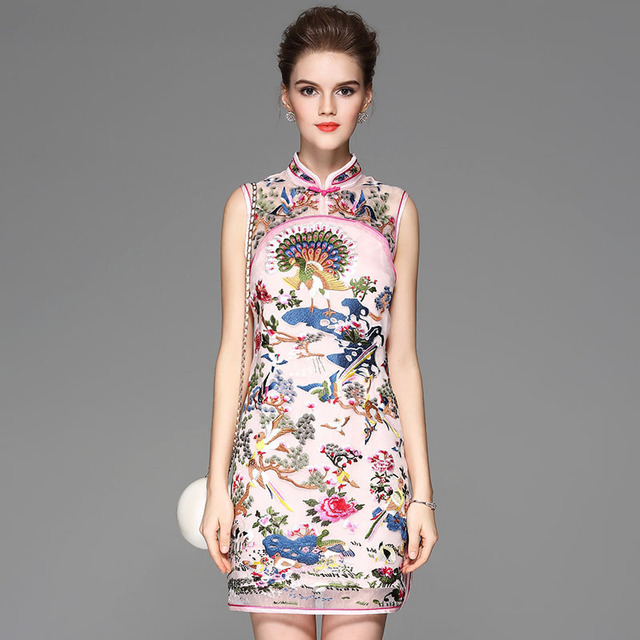 b1dd80c20681a US $79.9 |High end summer women Chinese style floral midi embroidery dress  elegant lady sleeveless Mandarin collar Qipao party dress S XXL-in Dresses  ...