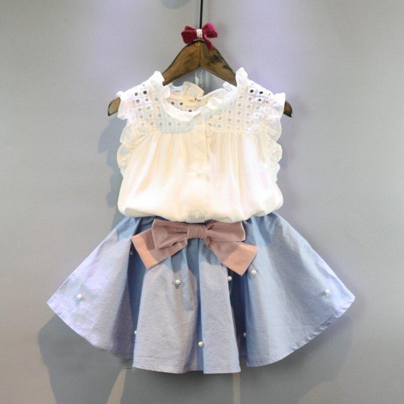 (5 pcs / LOT) -2017 summer white sleeveless T-shirt + bow beads 2-7 girls skirt second-tier clothing
