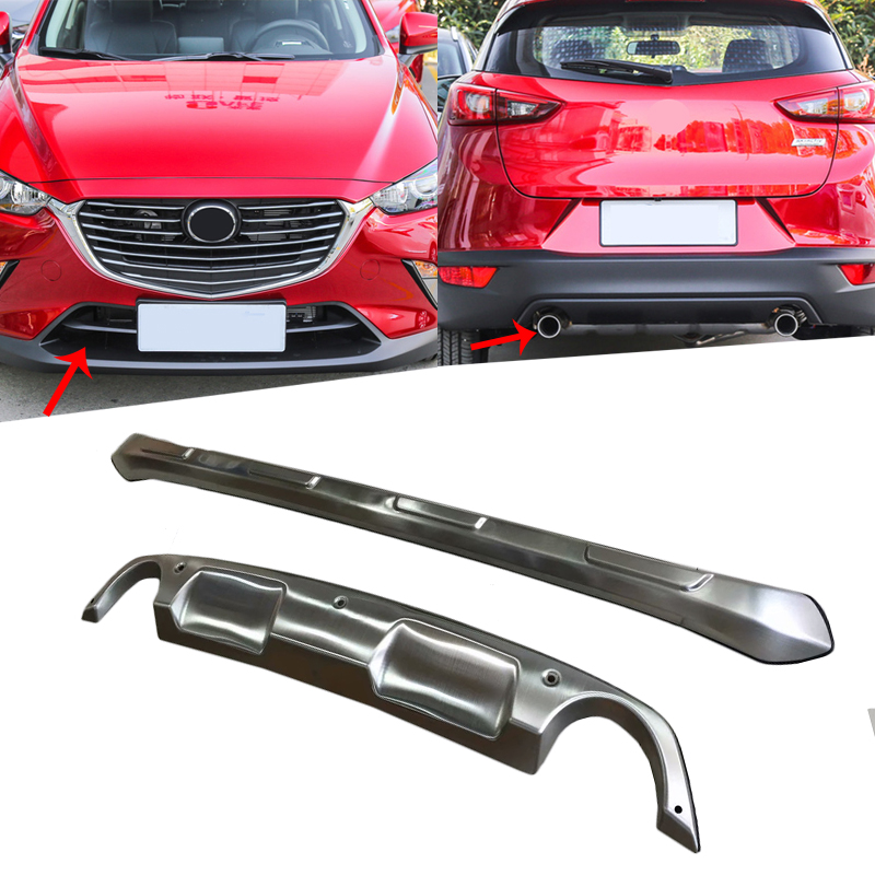 Pour Mazda CX-3 CX3 2015 2016 2017 2018 en acier inoxydable avant et arrière pare-chocs protecteur de protection plaque de protection pièces de style de voiture