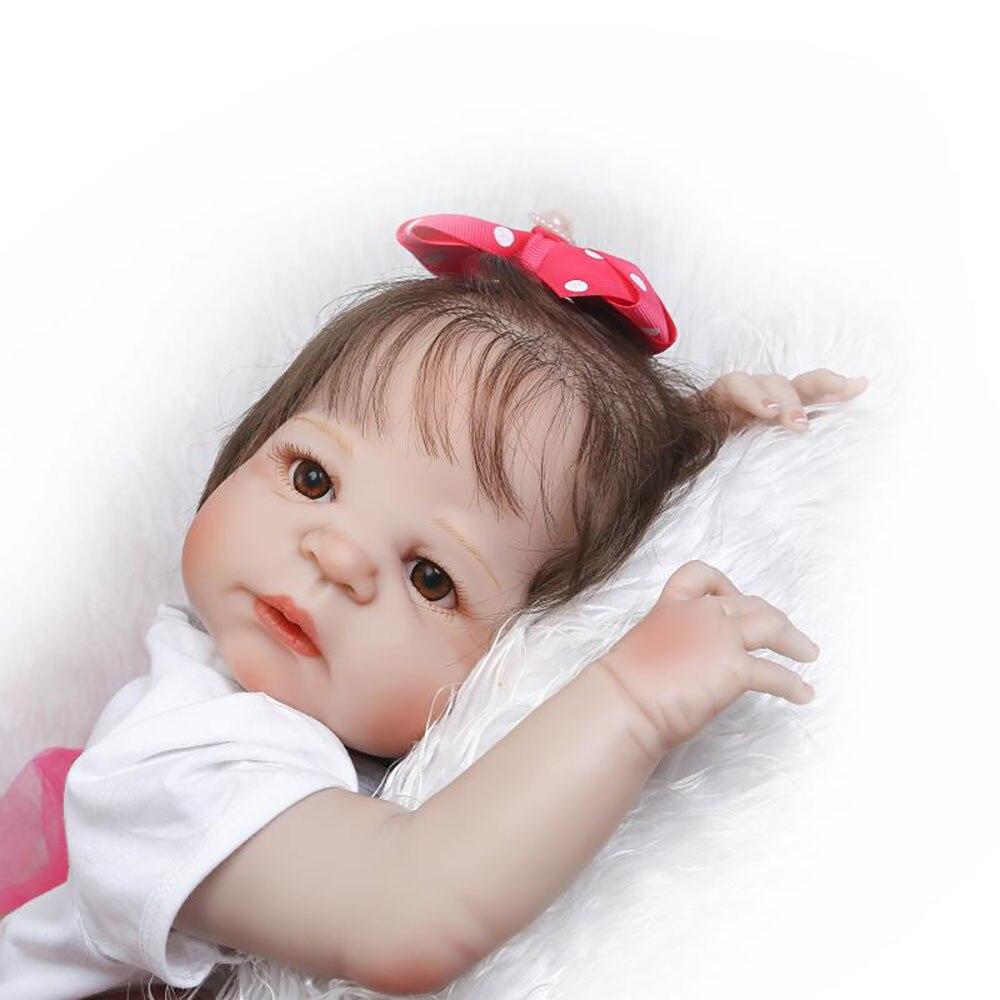 Bebe 57cm Full Body Silicone Reborn Baby real dolls Toys Lifelike girl Doll Child Birthday Gift bonecas Brinquedos Bathe Toys