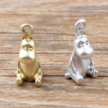 Hippo New Cartoon Alloy Jewelry Pendant Charms 10pcs 10x20mm DIY Bracelet Silver Or Gold Matte 3D Charm for jewelry making