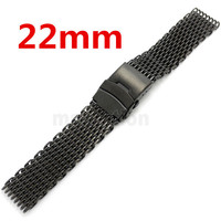 モト360黒22ミリメートルバンド幅メッシュweb腕時計バンドストラップブレスレットメンズレディース折り重なりクラスプで安全とプッシュボタ