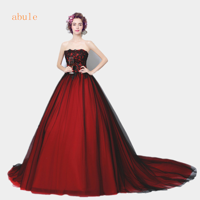 Red And Black Wedding Gowns: ABULE Wedding Dress Red Wine Black Lace Train Strapless