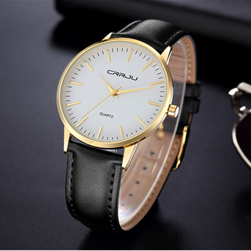 7.5mm Ultra-thin Men's Watch Fashion CRRJU Watches Simple Business Men Quartz Watch Men Luxury Masculine Male Clock reloj hombre цена и фото