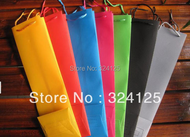 Free shipping wholesale 12pieces/lots white 40*11*10cm waterproof wine bottle bags wedding party wine bottle gift bags