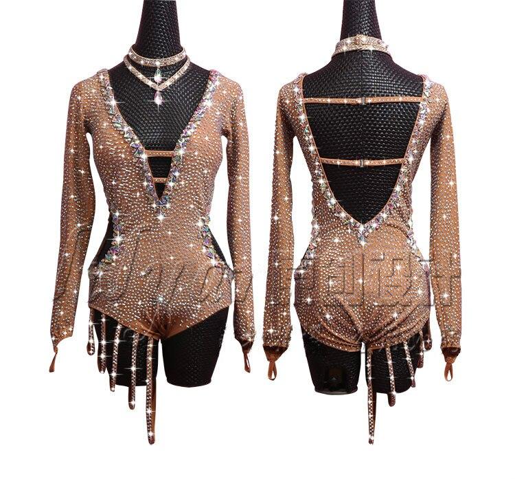 Full Body Diamond Latin Dance Dress Women Dark Complexion Long Sleeve Deep V-neck Chain Full Drill Salsa Dance Skirt Costume