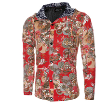 Fitness Hooded Jackets Men Long Sleeve Autumn Winter Coats 2017 V-Neck Floral Printed Slim Mens Coats Red Black Khaki Outwear