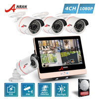 ANRAN CCTV P2P 4CH 1080P 12 Inch LCD POE NVR Home Security System 24 IR MINI