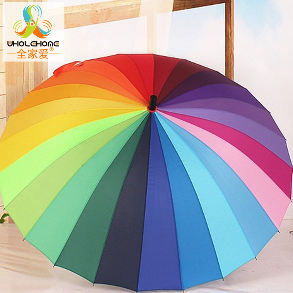 3c0bd3c19b2c9 Top Quality 24k Rib Color Rainbow Fashion Long Handle Straight Anti-UV Sun/ Rain