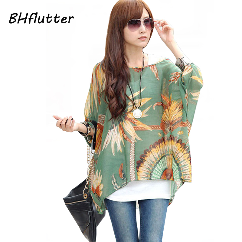 Women's Chiffon Tops 2018 New Fashion Summer Shirt Boho Style Batwing Casual Blouses Blusas 4XL 5XL 6XL Plus Size Women Clothing