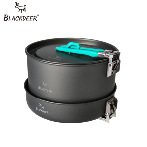 Image 2 - Blackdeer Outdoor Camping Servies Set Backpacken Picknick 2 Pot 1 Koekenpan 1 Ketel Aluminiumoxide Duurzaam Kookgerei Vouwen Koken Set