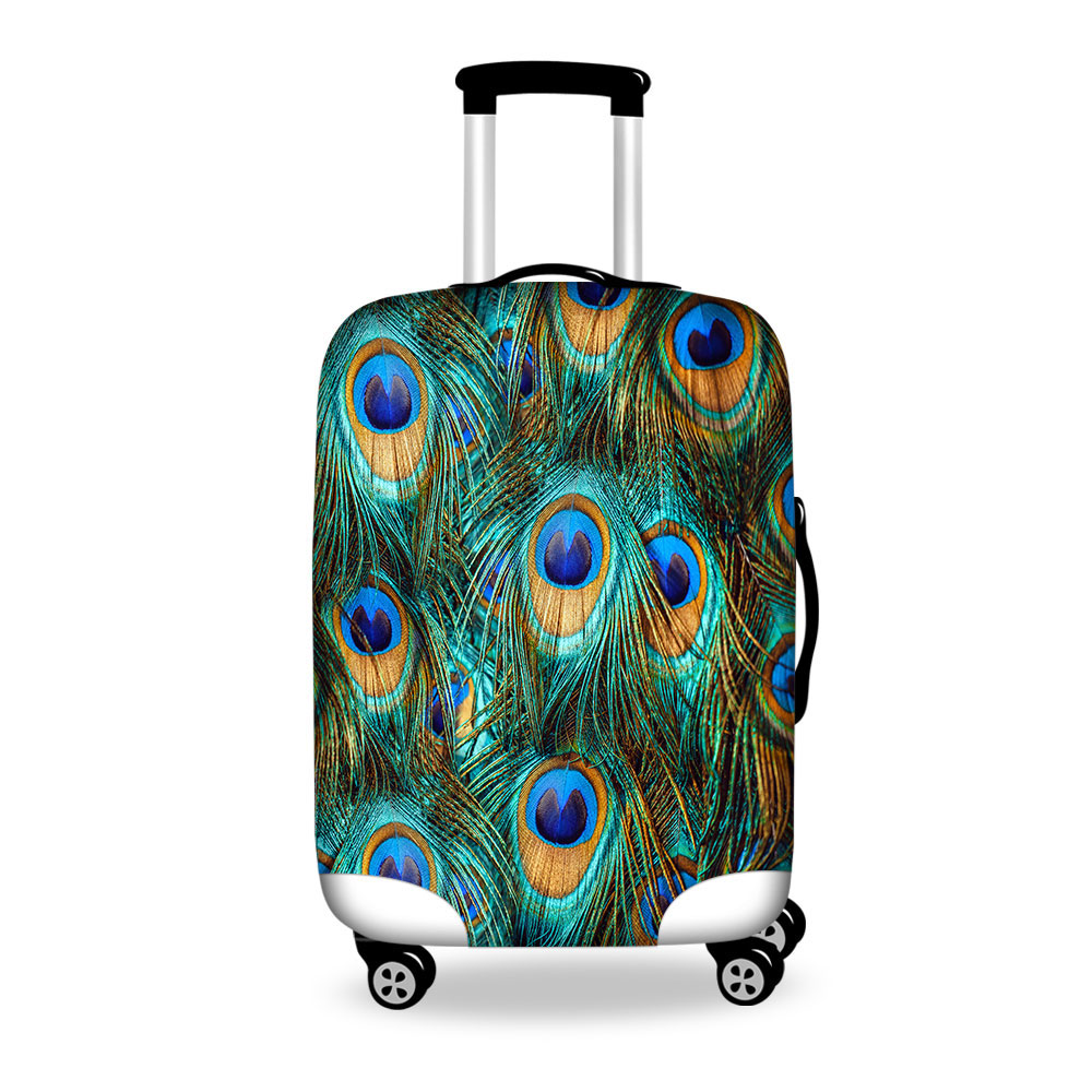 Peacock Feathers Printed Luggage Protective Dust Cover For 18-30 Inch Suitcase Travel Luggage Cover Women Travel Accessories