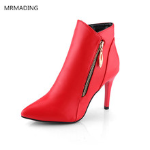 2016 autumn and winter new women's boots pointed high-heeled shoes with boots waterproof short tube Martin boots bare side pull