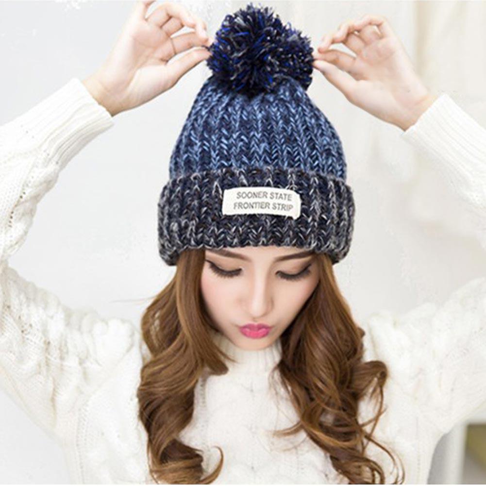 dae825771af72 2017 Women Bonnet Femme Winter Pom Pom Beanies Hats Knitted Crochet Hat  Warm Woolen Woman Fur Pompons Skullies Bone Gorro-in Women's Skullies &  Beanies from ...