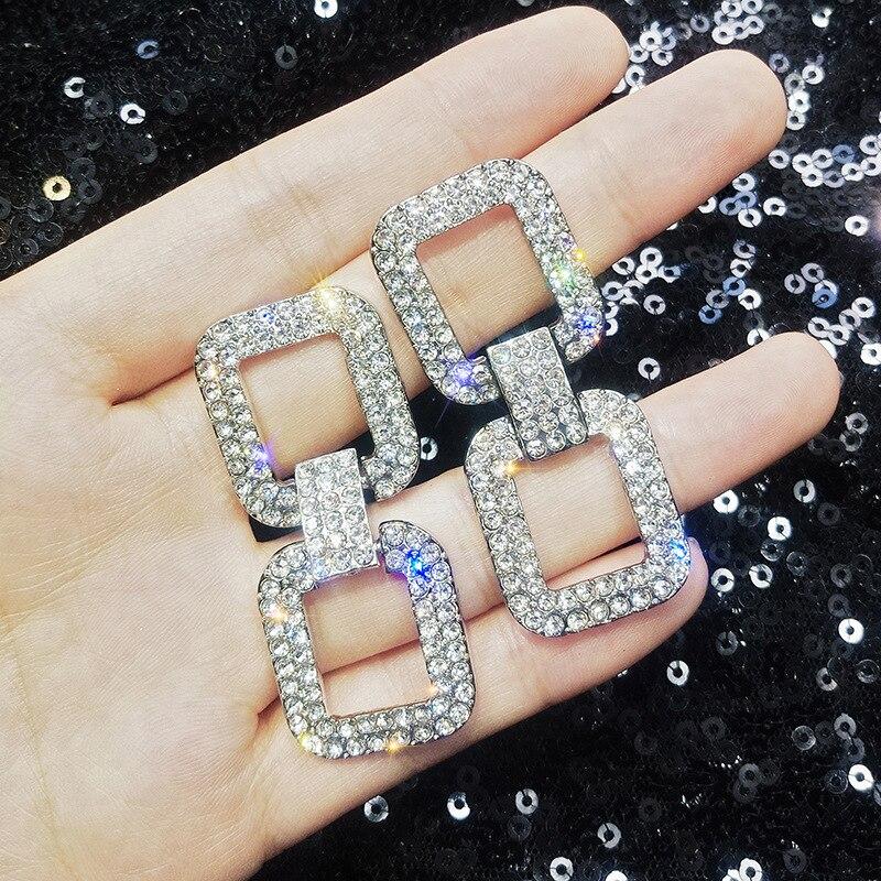 2019 New design fashion pop jewelry luxury crystal earrings South Korea hot geometric earrings party wedding earrings for women