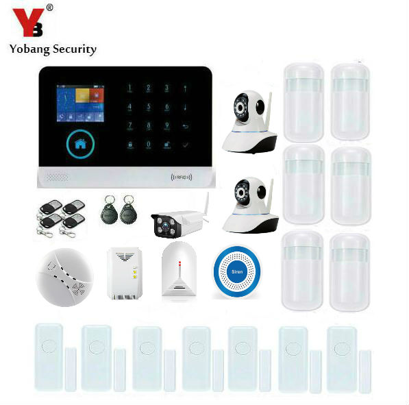 Yobang Security WIFI APP Control Alarm Systems Security Home With Outdoor IP Camera Alarm Kits Smoke/Gas/Glass Break Sensor yobang security gsm wifi auto dial home alarm system rfid tags intelligent alarma kits glass break sensor strobe siren sensor