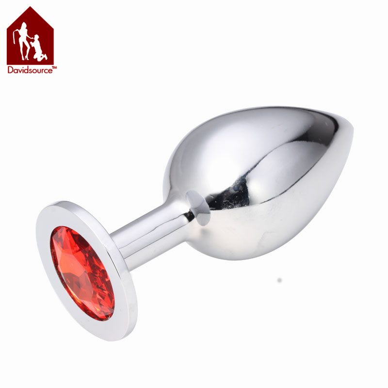 Davidsource Jeweled Metal Silver Butt Plug L Size100mm Long 39mm Wide Jewelry Anus Toy For Anal Sex Receiver Women Men Sex Toy