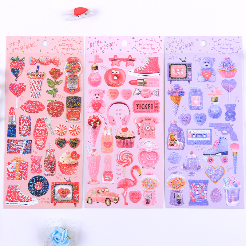 Image 3 - 20 sets/lot Kawaii Stationery Stickers Cute sparkling Diary Planner Decorative Mobile Stickers Scrapbooking DIY Craft Stickers-in Stationery Stickers from Office & School Supplies