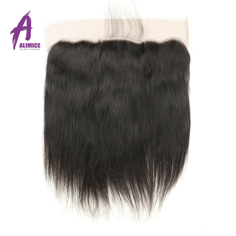 Alimice Indian Straight Hair Ear to Ear 13x4 Lace Frontal Closure with Baby Hair Free Part Natural Color Non Remy Human Hair