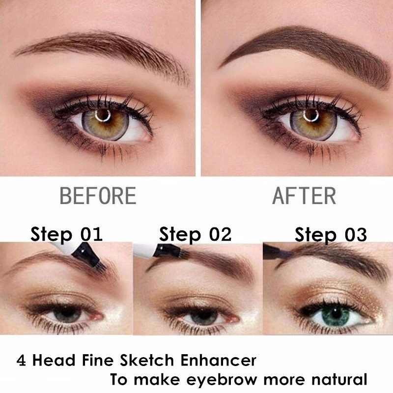 Eye Brow Pencil Waterproof Microblading Eyebrow Tattoo Pen Long-lating Fine Sketch Fork Tip Professional Liquid Eyebrows Pen 5