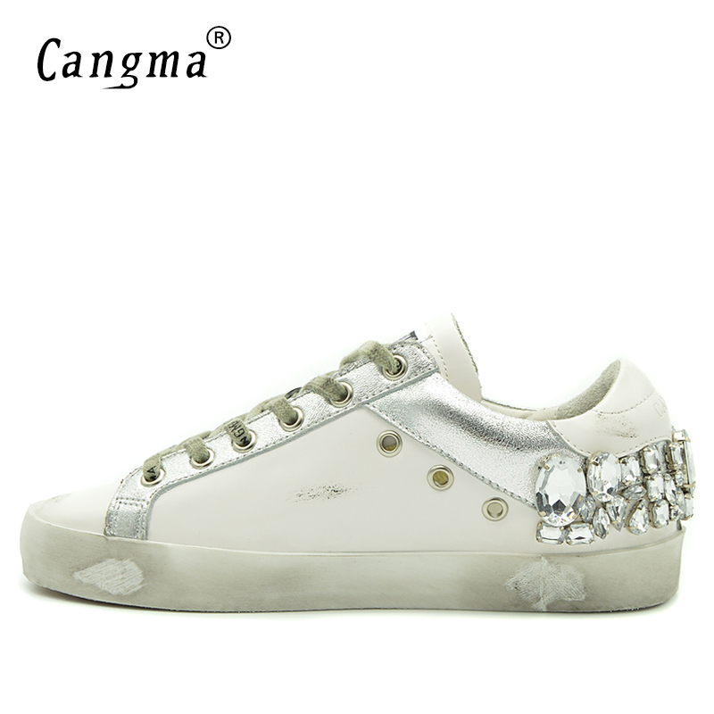 CANGMA Men Sneakers Brand Rhinestone Shoes Genuine Leathe Lace-Up Hip Hop Shoes Breathable Footwear Large Sizes