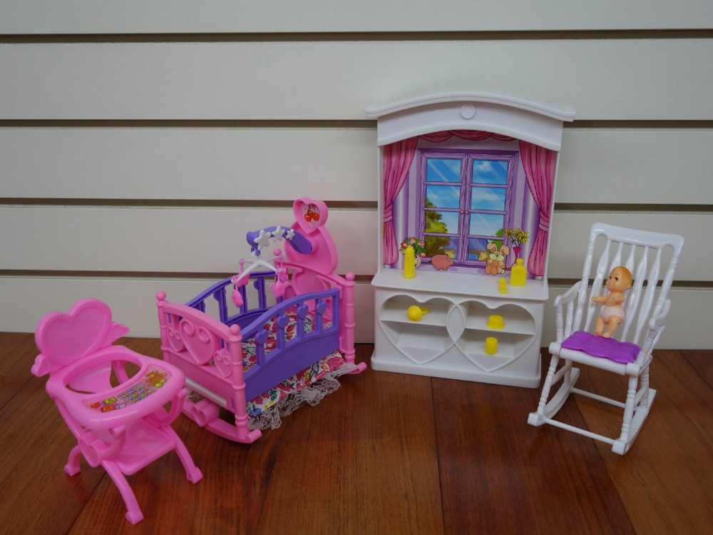 LeadingStar New Baby Room Play Set Doll Size Dollhouse Furniture For Doll  Perfect Children Toy Gift