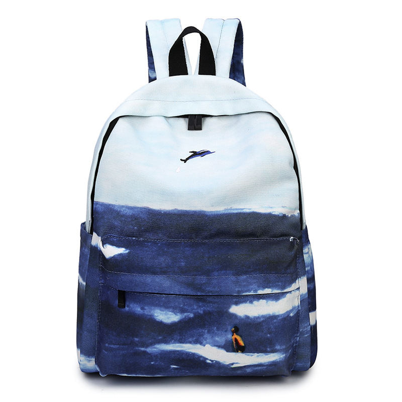Moon Wood Landscape Printing Backpack Canvas School Travel Shoulder Bags Girls High Quality Candy Color Leisure Laptop Back Pack #4