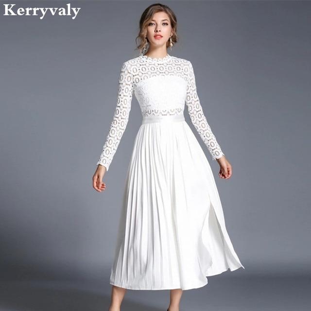 bad14dda5f3 Automne Crochet Blanc Soluble Dans L eau Robe en dentelle Vetement Femme  2019 Robe Longue