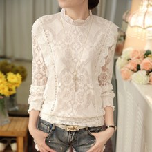 Fashion Hollow Out Lace Blouse Shirt New 2018 Spring Summer Long Sleeve White Blouse Women Top Elegant Female Blouse Hot T81915A