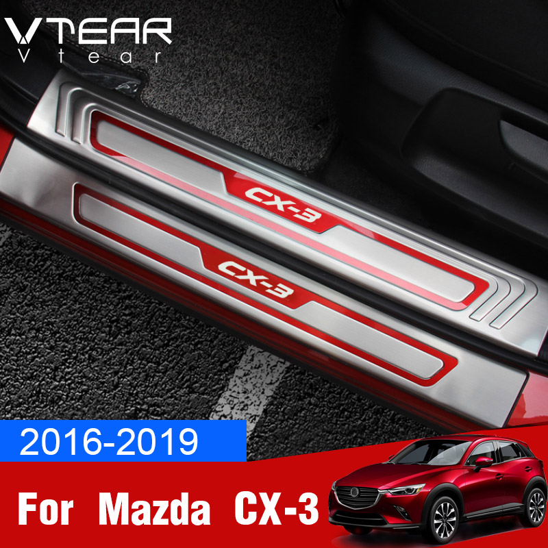 Vtear For Mazda CX 3 CX3 2018 2019 door sill scuff plate guards stainless steel Welcome