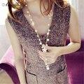 Flor de la manera Collares Largos Colgantes Mujeres kolye Borlas de Joyería de Perlas Collar de Perlas de Imitación 2017 Bijoux Collier Femme