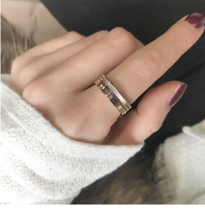 High quality Roman Numeral Shell Inlay Ring Rose Gold Color Fashion Titanium Steel Jewelry Birthday Gift Woman Not Fade