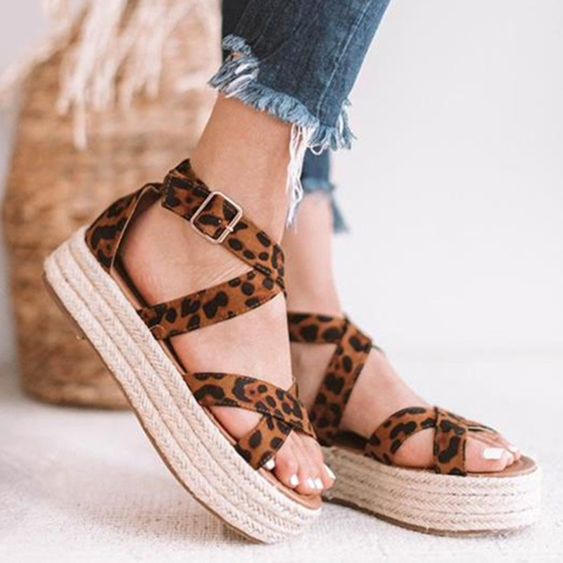 Summer Women''s Shoes Sandals Retro Roman Platform Weaving Sandals Platform Shoes Female Plus Size