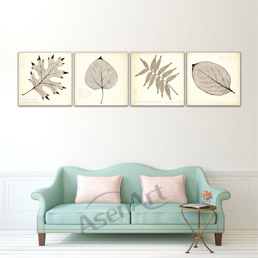 Mur Affiche Moderne Image Plantes Feuille Feuilles D'érable 4 Pièces D'art HD Toile Peinture pour Salon Bureau Décor À La Maison encadrée