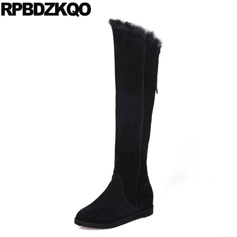 Over The Knee Winter Round Toe Real Fur Women Boots 2017 European Shoes Casual Flat Black High Suede New Female Fashion Long 2017 winter new clothes to overcome the coat of women in the long reed rabbit hair fur fur coat fox raccoon fur collar
