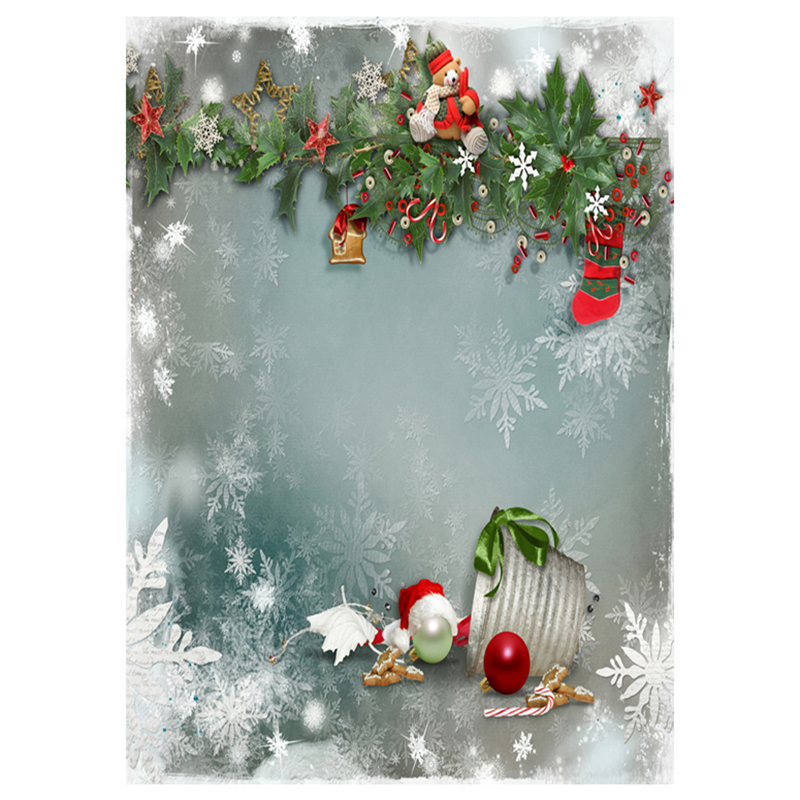 EDT-5X7ft Vinyl Christmas Theme Photography Background Studio Backdrop, Snowflakes, Christmas balls