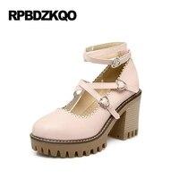 Pumps Korean High Heels Cheap Ladies Strappy Cross Strap Heart Platform Lolita Shoes Round Toe 3