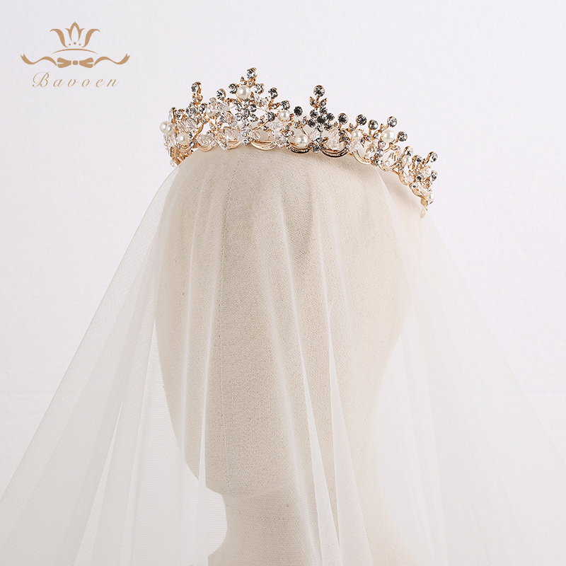 Fashion Brides Crystal Tiaras Crowns Gold Headpieces Rhinestone Wedding Hair Accessories Evening Hair Jewelry