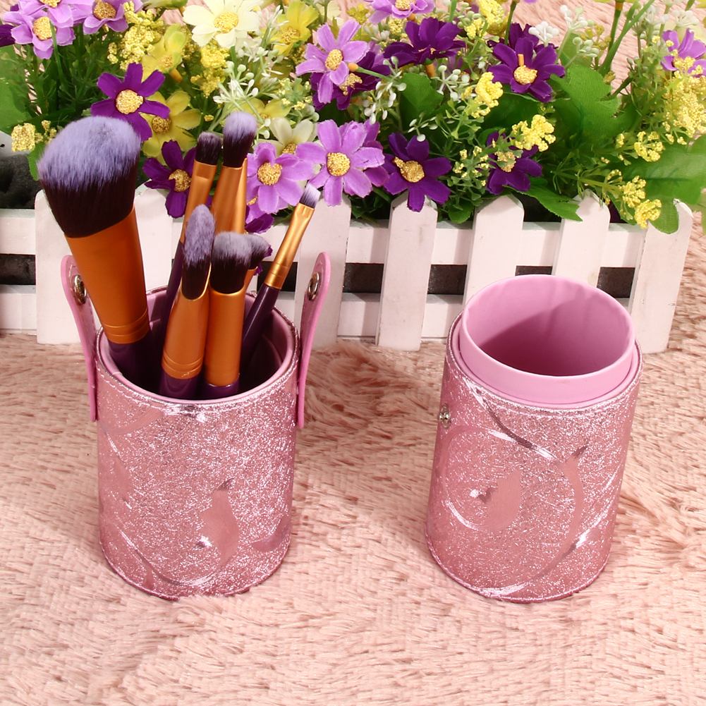 Pink Empty Makeup Brushes Kit Studio Holder Tube Convenient Portable PU Leather Cup Holder Case Container Solid Case brush stand hot pro makeup brushes kits flower leather cup holder comestic brushes empty case 4 color free shipping