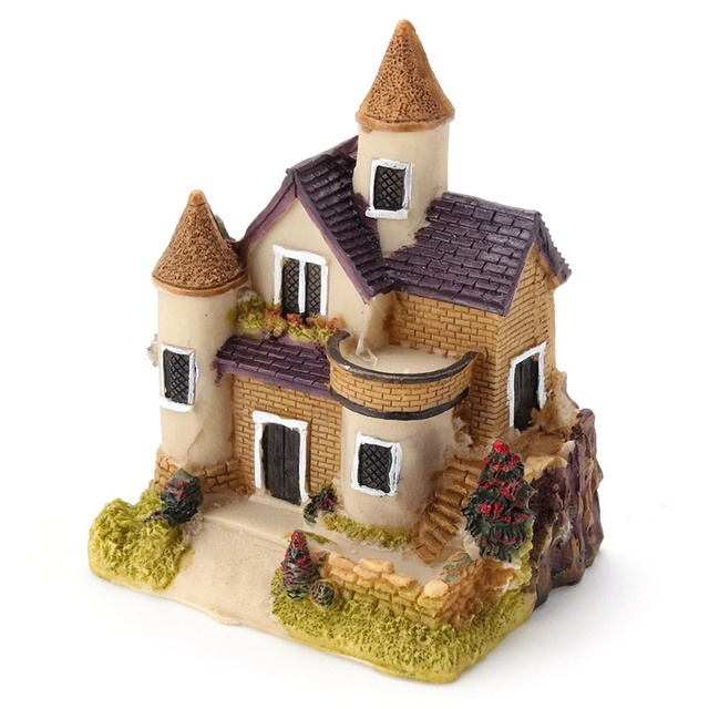 Vintage Mini Resin House Miniature House Fairy Garden Micro Landscape Home Garden Decoration Resin Crafts 4 styles Color Random 4